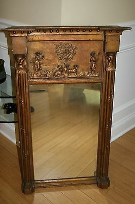 Vintage Antique 19th Century Pier Mirror Gold Gilt Egyptian Revival