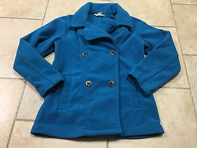 Land's End Teal Fleece Pea Coat/jacket, Girls Size 7-8
