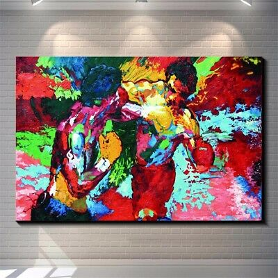 """Leroy Neiman Rocky vs Apollo""Handcraft oil painting on canvas 24x48"" /Unframed"