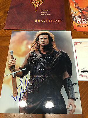 Braveheart Promo Items - With Photo Signed By Mel Gibson Autograph