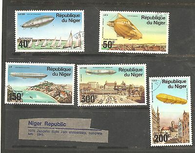 Republic Of Niger  History Of The Zeppelin Flights Used 1976