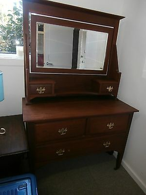 ANTIQUE DRESSING TABLE 106 x 52cm. WITH 3 DRAWERS & 2 JEWELLERY DRAWERS. G.C.