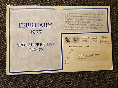 Paramount International Coin Co Paper Phaflet Feb 1977 Price List No 86