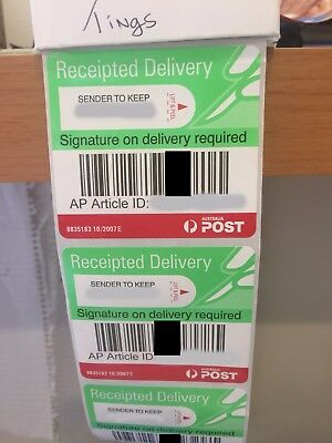 10 x Auspost signature on delivery tracking labels, receipted delivery
