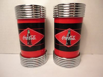"""Diner Coca Cola Brand Salt and Pepper Shakers 1997 Chrome & Red 3 3/4"""" tall"""