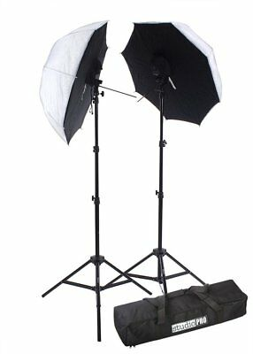 "New Studio Flash W/33"" Tanslucent Umbrella Softbox Two Stand Kit Light Equipment"