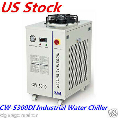 110V S&A CW-5300DI Industrial Water Chiller for 200W CO2 laser /18KW CNC Spindle