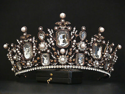 Big Antique Vintage Design Ornate Crystal Pearl Royal Regal Queen Crown Tiara
