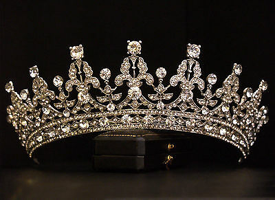 Vintage Design Ornate Crystal Royal Queen Princess Crown Tiara Bridal Wedding