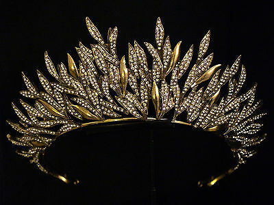 Couture Statement Gold Layered Leaf Sun Crystal Crown Tiara - Bridal Wedding .