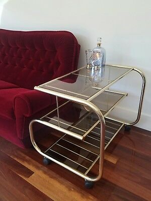 Hollywood Regency style gold and stained glass drinks trolley