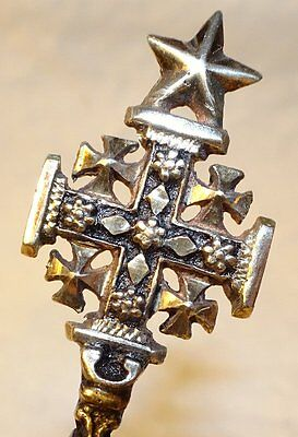 Vintage Maltese Cross Jerusalem Spoon Coin Silver
