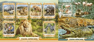 Z08 Imperforated GB16002ab GUINEA-BISSAU 2016 African fauna MNH Set