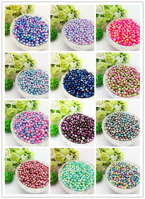 NEW 4/5/ 6/ 8mm Color Acrylic No Hole Round Pearl Loose Beads Jewelry Making