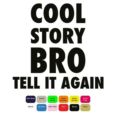 Cool Story Bro Iron On T-Shirt Clothes Heat Vinyl Transfer HTV Sticker 12 Colour
