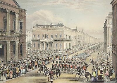 Antique c19th Coloured Engraving, Weillington's Funeral Procession, Pall Mall