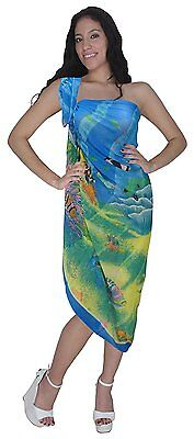 Sarong SwimSwimwear Beach Bikini Cover up Printed Chiffon Multi / Blue One Size