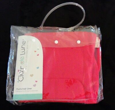 Universal pushchair liner -Clair de Lune - RED -REVERSIBLE FABRIC -FLEECE LINED