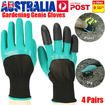 Hot 4 Pairs Garden Genie Gloves Digging Planting ABS 4 Plastic Claws Gloves Tool
