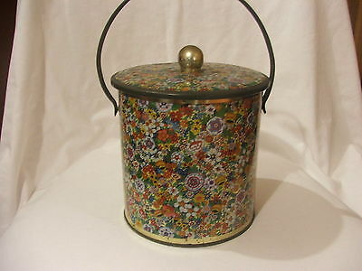 Vintage Round Biscuit Tin With Handle ~ Baret Ware England ~ Chintz Pattern