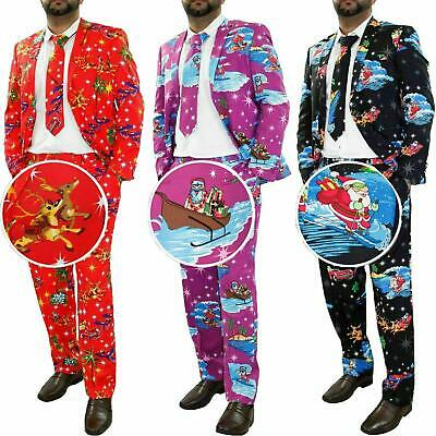 Mens Christmas Fancy Dress Novelty Print Deluxe Festive Costumes Casual Lot Suit