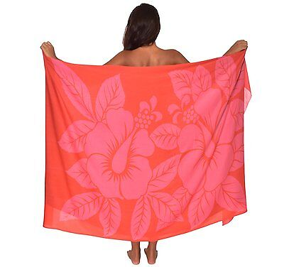 Big Hibiscus Flowers Hawaii Sarong Pareo BeachWrap Swimsuit Coverup Coral/ Pink