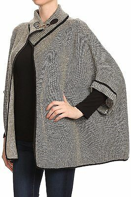 LL Womens Beige Trending Tweed Poncho Coat 3/4 Sleeve Metal Clasp Fall Winter