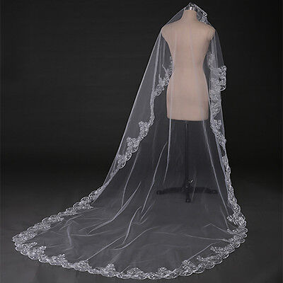 1T 3M Ivory Wedding Long Cathedral Bridal Veil Flower Lace Edge Tulle Chapel