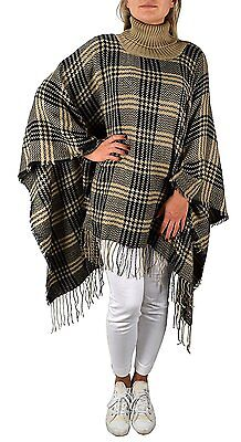 Peach Couture Turtle neck Checkered Winter Poncho Blanket Scarf Sweater with