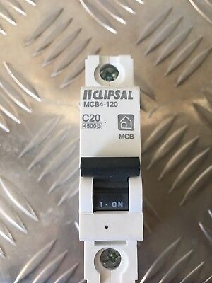 Clipsal MCB4 120 20A Miniature Circuit Breaker MCB 4.5kA Single Pole SwitchBoard