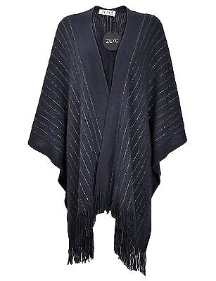 ZLYC Women Lightweight Soft Basic Chunky Knit Open Front Blanket Wrap Fringe