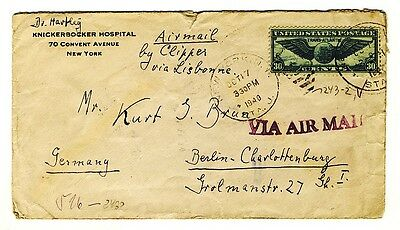 Philatelie Zensurpost, Airmail-Brief 1940 aus New York nach Bln. by Clipper