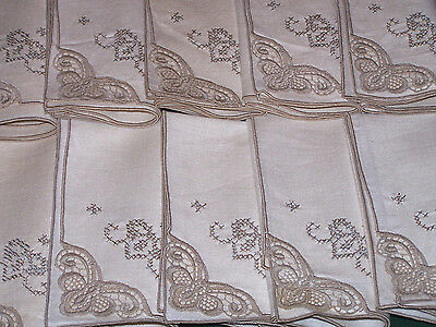 """12 SPECTACULAR VINTAGE LINEN NAPKINS, GORGEOUS LACE TRIM, 16"""", NEVER USED w/TAG"""