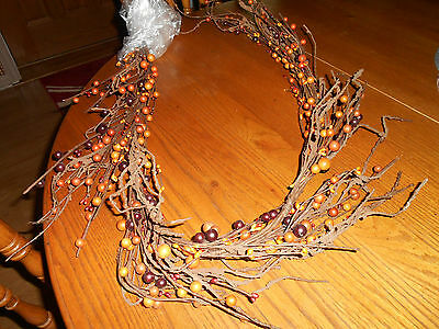 "Garland Big and Small Pip Berry Garland  60"" Orange, Brown Tan"