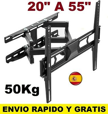 "Soporte de pared tv lcd led plasma monitor para 20"" a 55"" giratorio e inclinable"