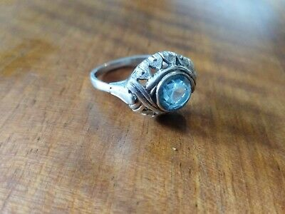 Ring Silber 835 antik art Deco Blautopas