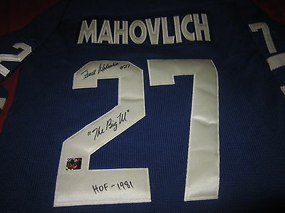 Frank Mahovlich signed Toronto Maple Leafs wool jersey inscribed 'BIG M'' HOF