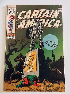 Captain America #113 (May 1969, Marvel) Steranko Cover FREE PRIORITY SHIPPING