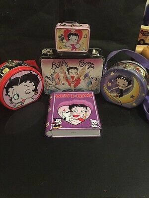 Betty Boop Lot Of 5 Tins-2 Round W/ Straps, Book Type & Mini & Larger  Lunchbox!