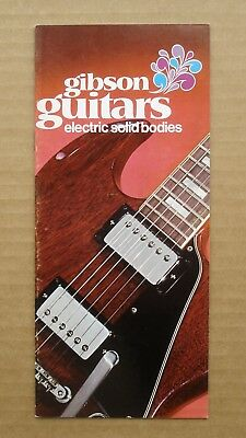 Vintage 1972 Gibson Guitars Brochure Pamphlet Electric Solid Bodies -- SG Custom