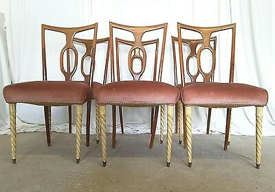 A Set of Six Italian Art Deco Dining Chairs by Pier Luigi Colli