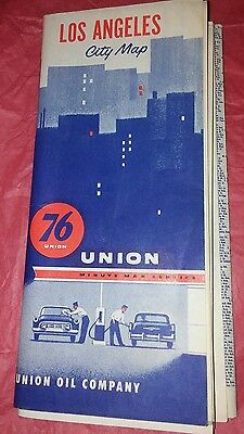 Vintage UNION 76 LOS ANGELES CITY STREET Oil Gas Service Station Road Map