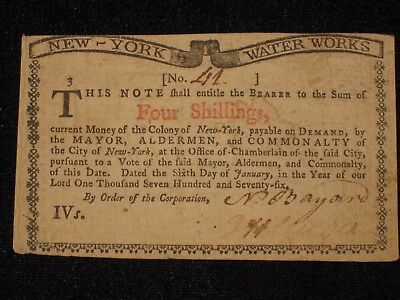 US NY Colonial Currency - 4 shillings - January 6, 1776 ** NY-183 ** (CC-224)
