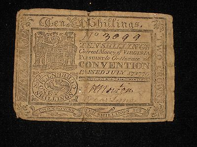 US VA Colonial Currency - 10 shillings - July 17, 1775 ** VA-75a ** (CC-220)