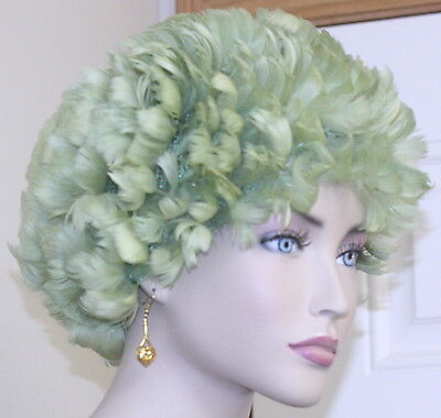 VINTAGE 1960 women's HAT green FEATHER net one size flirty sassy look