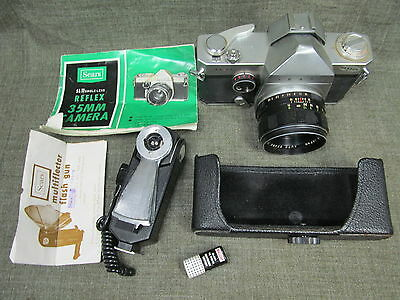 camera SEARS SL-11 SLR 35mm & 55mm lens & MULTIFLECTOR FLASH GUN w/inst. AS/IS