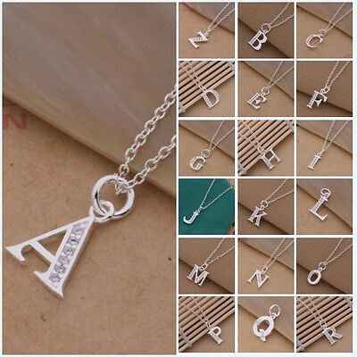 Fashion Silver Letter A to Z Pendant + Chain Locket Lady 925 Necklace Xmas Gift