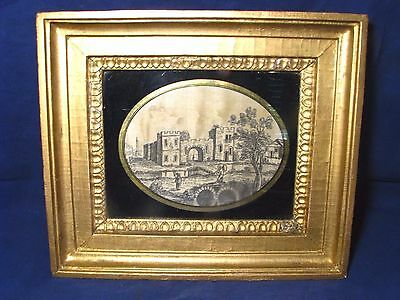 Antique Georgian Miniature Ink On Silk Drawing Original Gilt Frame 18Th Century
