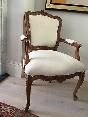 ANTIQUE French Louis Armchair and Table | Wooden Frame REUPHOLSTERED