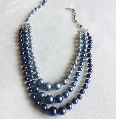 Vintage Triple-Strand Graduated Shades Metallic Blue Necklace. 40s or 50s. MCM